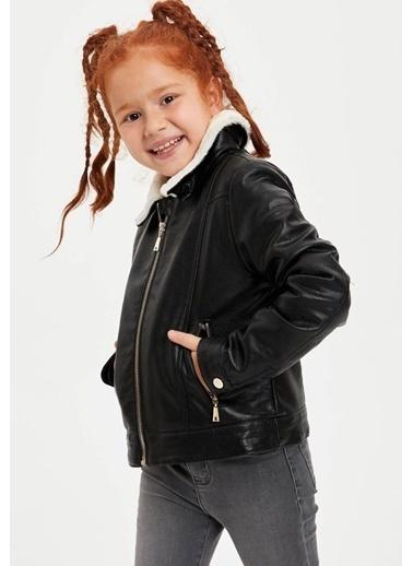 DeFacto Kız Çocuk Suni Kürk Detaylı Fermuarlı Süet Ceket Siyah